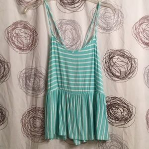 Mint green tie back tank top